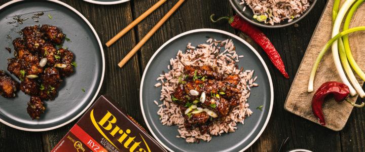 Kurczak Generała Tso z ryżem cztery kolory
